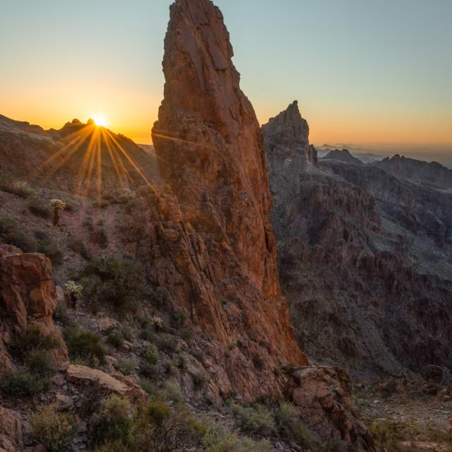 """""""Sunrise Over Pinnacle in the desert"""" stock image"""