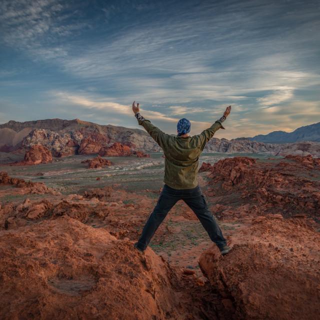 """""""Hiker Enjoying the Nevada Desert"""" stock image"""