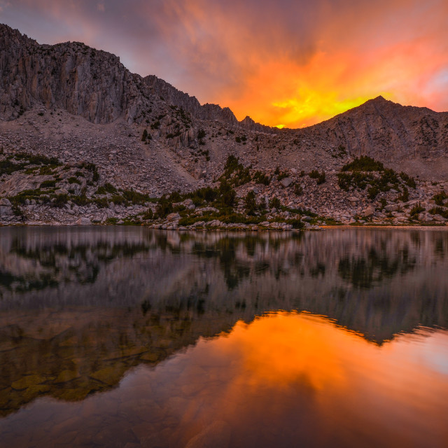 """""""Sunset Fire Over Mount Crocker in the Pioneer Basin"""" stock image"""