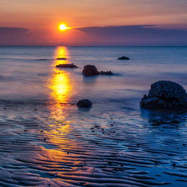 """Golden hour sunset from Hunstanton beach, UK."" stock image"