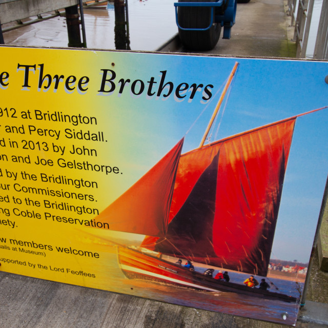 """""""Sailing Cobble Three Brothers, Information Board"""" stock image"""
