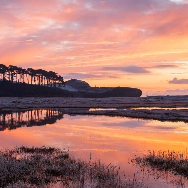"""""""Fiery Sunrise at Budleigh Salterton"""" stock image"""