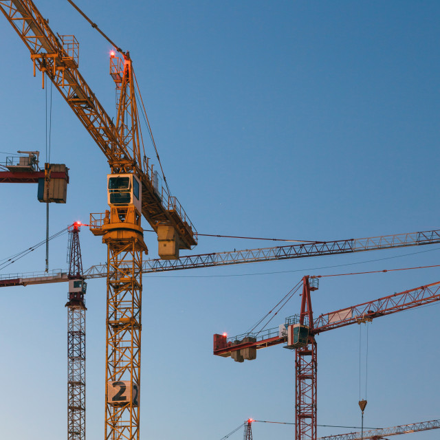 """""""Cranes against clear blue sky"""" stock image"""