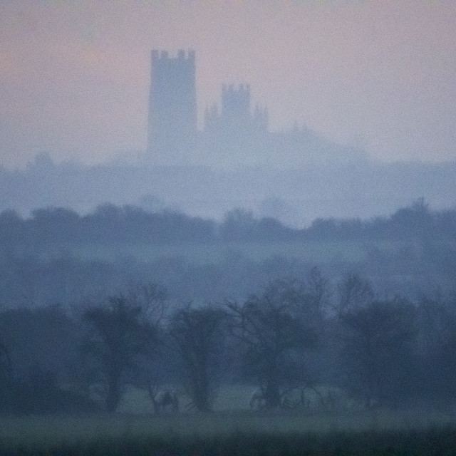 """""""Misty dawn behind Ely Cathedral, 29th March 2018"""" stock image"""