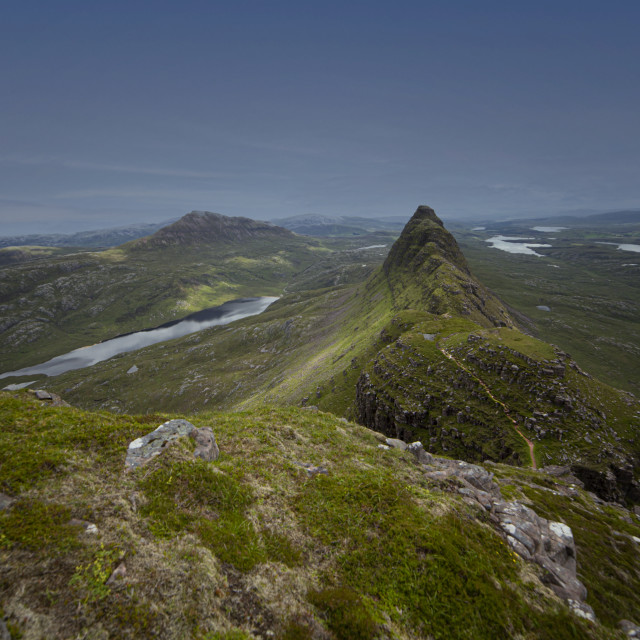 """""""Suilven and Canisp, Viewed from the Dome"""" stock image"""