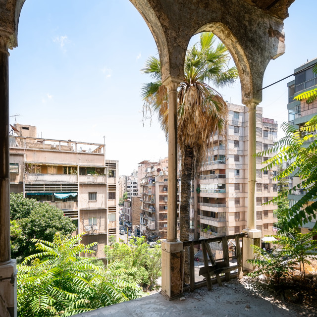 """""""Arches in an Abandoned Palace in Beirut Lebanon"""" stock image"""