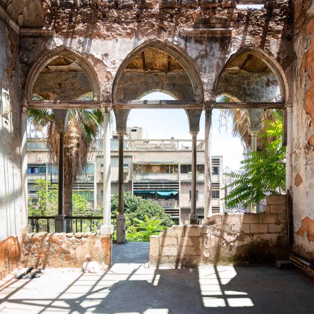 """Interior of Abandoned Palace in Beirut Lebanon"" stock image"