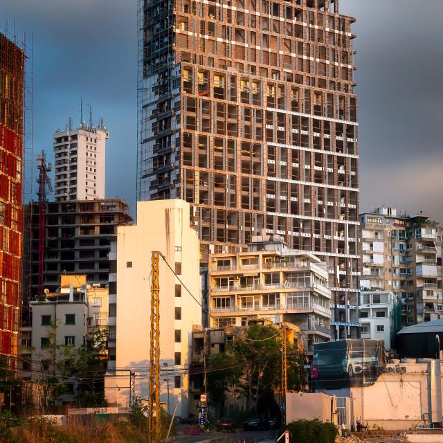 """Big Damaged Building by Port of Beirut Explosion Lebanon"" stock image"