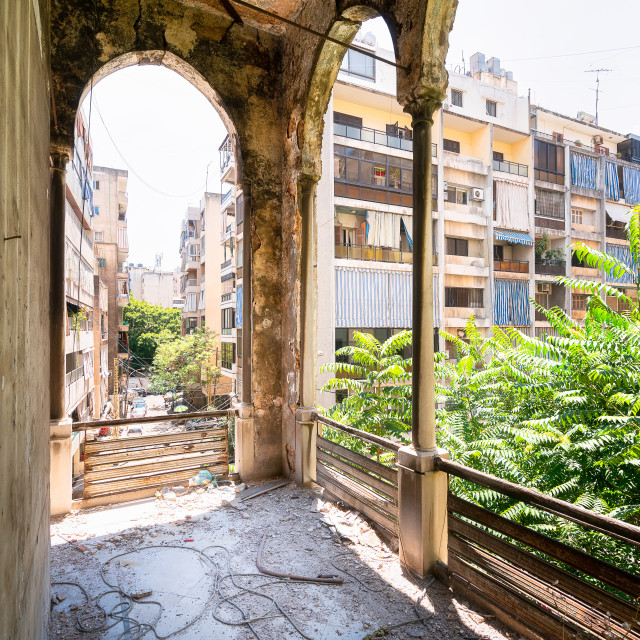 """""""Hallway with View at Beirut in Abandoned Palace"""" stock image"""