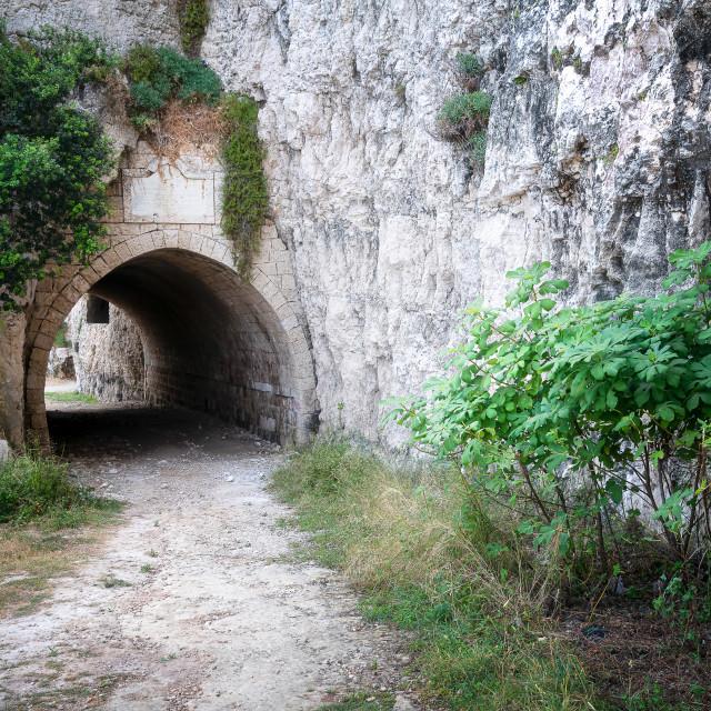 """Abandoned Ottoman Train Tunnel in Lebanon"" stock image"