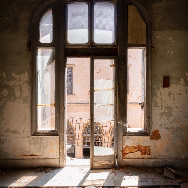 """Sunlight Window Reflection Abandoned Palace in Beirut"" stock image"