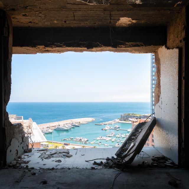 """Broken Balcony of Holiday Inn Hotel in Beirut"" stock image"