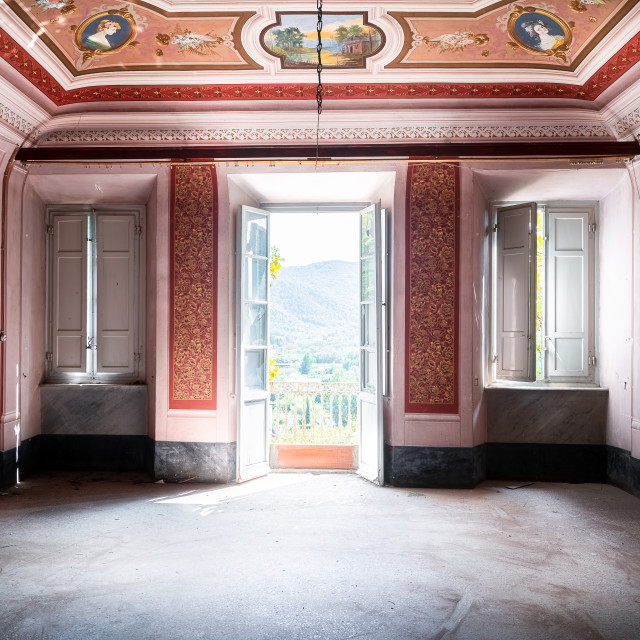 """""""Red Room in Abandoned Villa"""" stock image"""