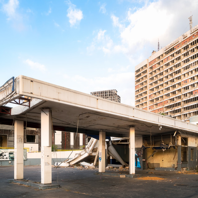 """Damaged Gas Station in Beirut Lebanon"" stock image"