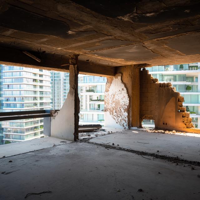 """Broken Balconies of Holiday Inn Hotel in Beirut Lebanon"" stock image"