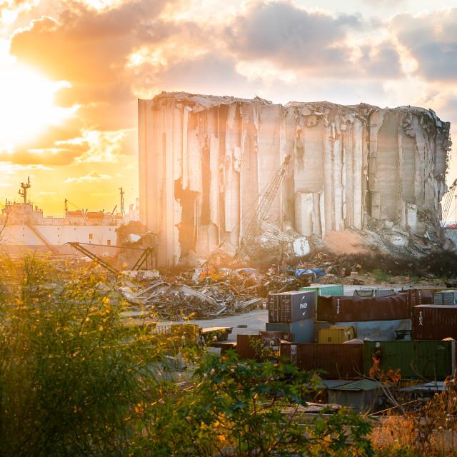 """Port of Beirut Disaster Site Lebanon"" stock image"