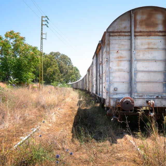 """Abandoned Train at Former Train Station Lebanon"" stock image"