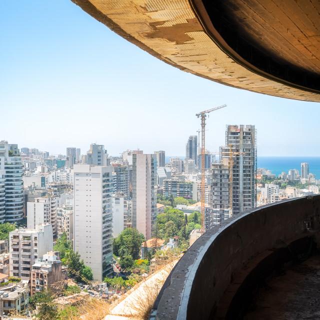 """Balcony of the Holiday Inn Hotel in Beirut Lebanon"" stock image"