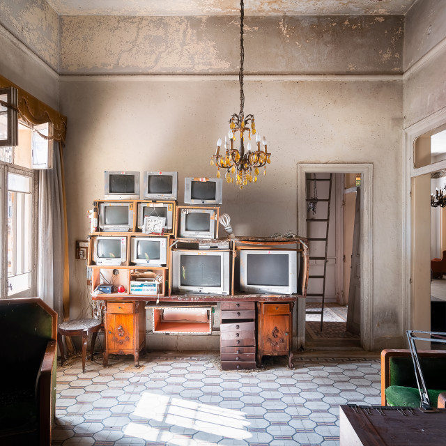 """""""Televisions Stored in a Room in an Abandoned Building"""" stock image"""