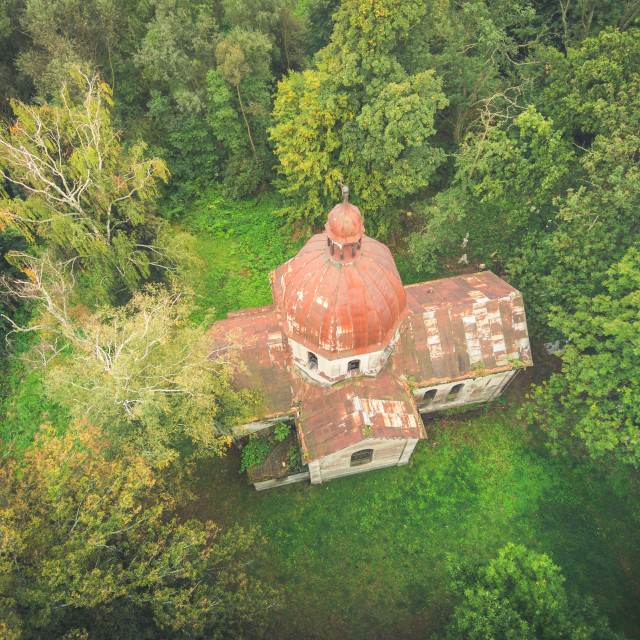 """""""Old church amongst green forest, aerial view toned image"""" stock image"""