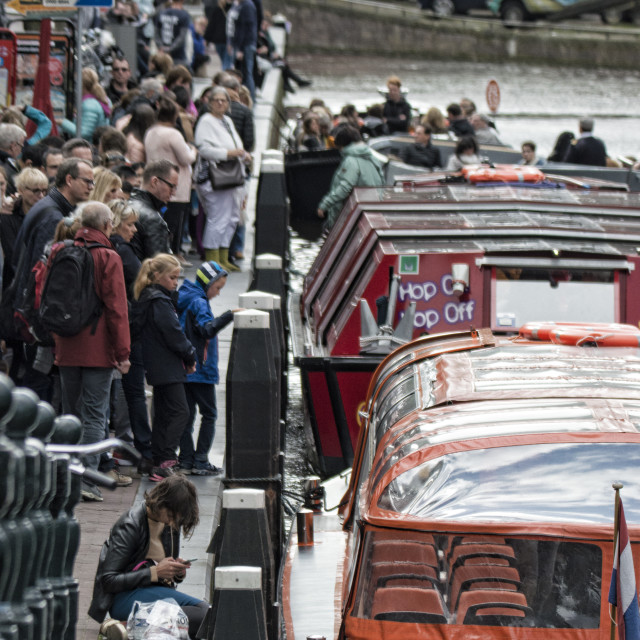 """""""Queueing For The River Cruises"""" stock image"""