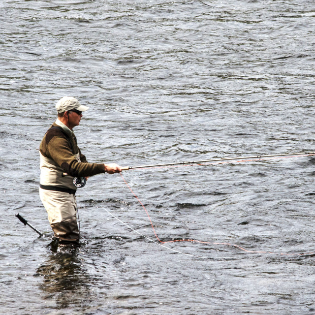 """""""Fishing The Spey"""" stock image"""
