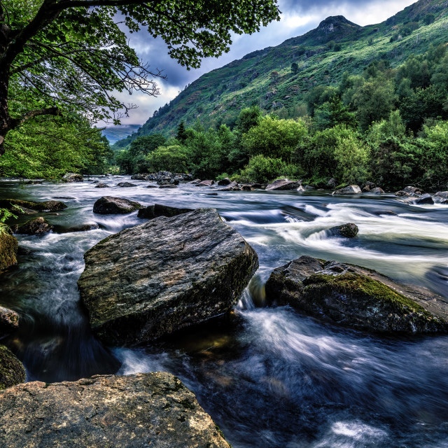 """""""Dawn from The River Afon Glaslyn, Wales, UK."""" stock image"""
