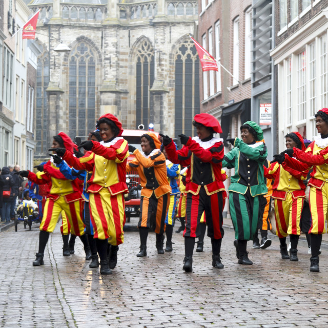 """Dancers dressed as Zwarte Piet"" stock image"