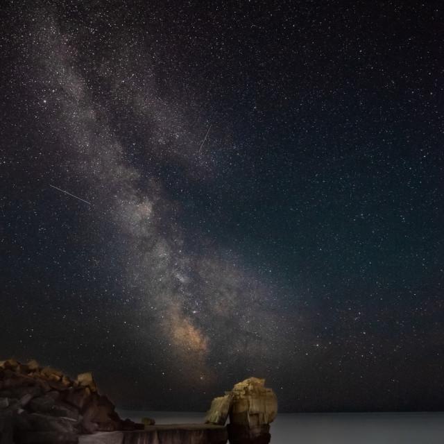 """Pulpit Rock, Portland, UK under the Milky Way"" stock image"