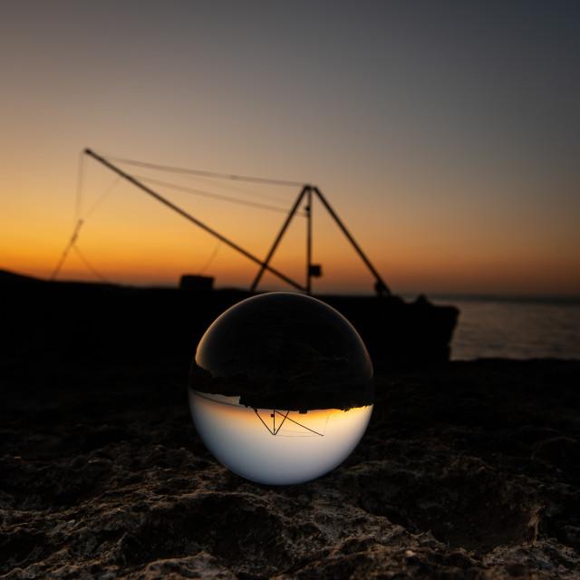 """""""Boat Cranes at Sunrise, Portland, UK"""" stock image"""
