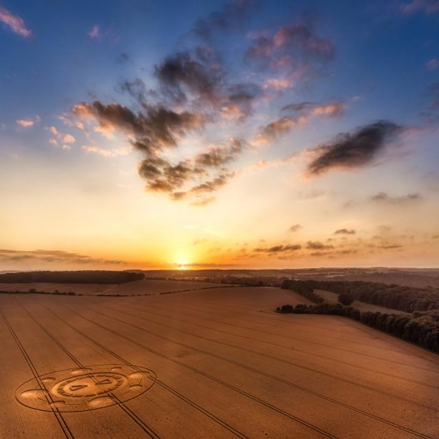"""""""Sunrise over a Crop Circle, Hampshire, UK"""" stock image"""
