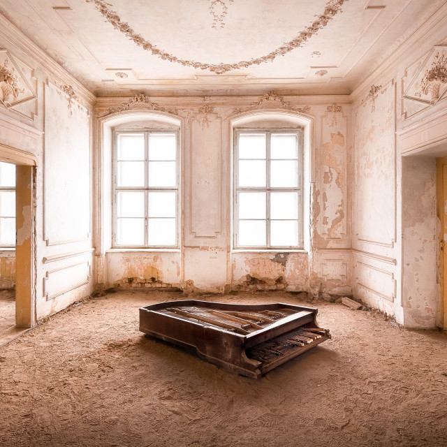 """""""Piano in Abandoned Palace"""" stock image"""