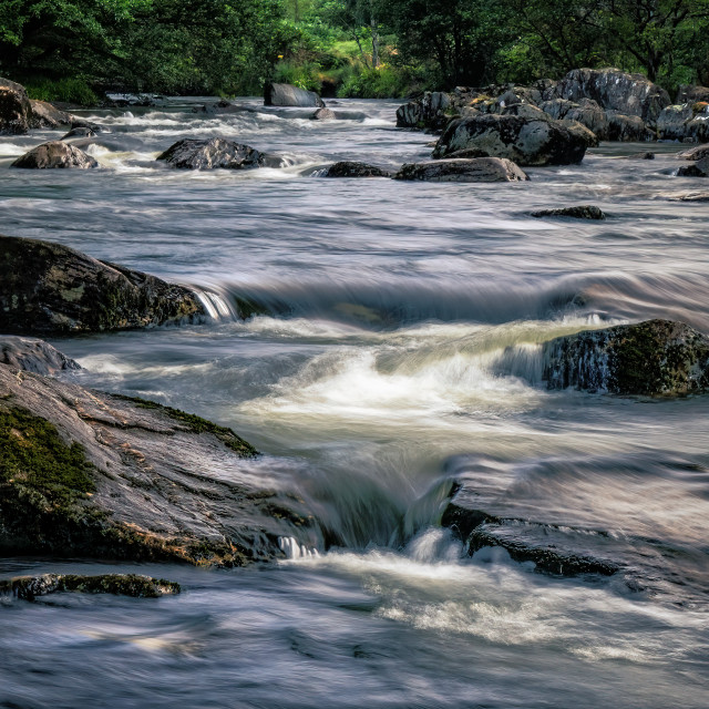 """""""The River Afon Glaslyn rapids, North-west Wales."""" stock image"""