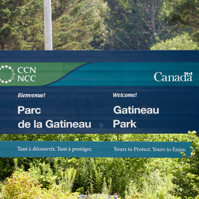 """""""Gaineau Park Welcome Sign"""" stock image"""