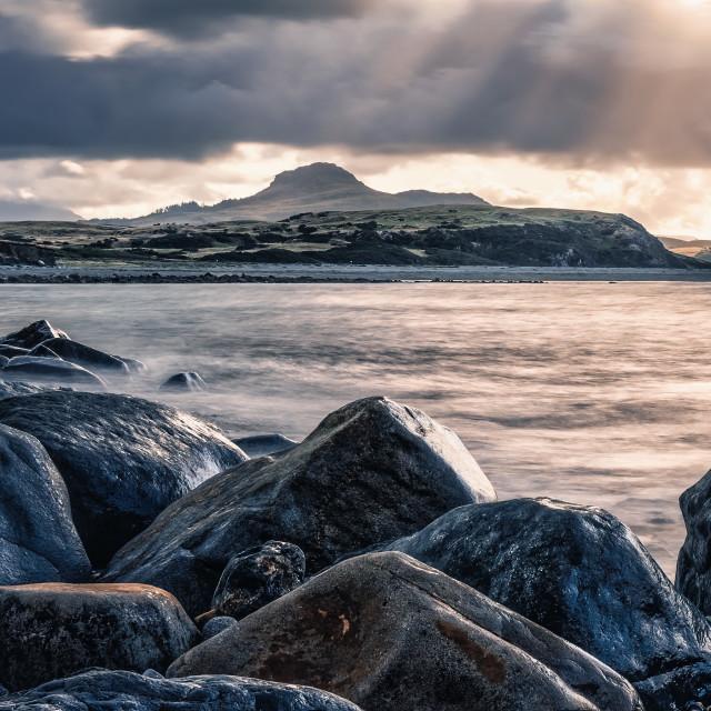 """""""Sunrise, Criccieth Beach, Gwynedd, Wales UK."""" stock image"""