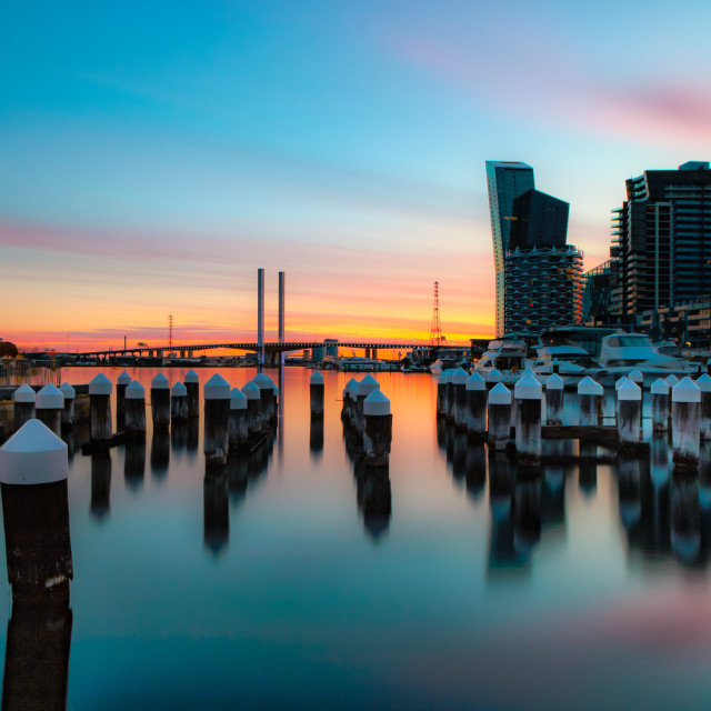 """""""Sunset over Docklands"""" stock image"""
