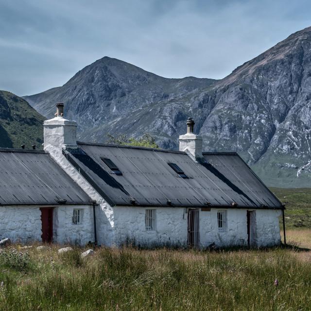 """""""Black Rock Cottage Glencoe"""" stock image"""
