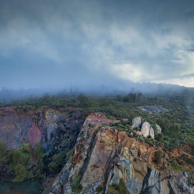 """""""Statham's Quarry in the Mist"""" stock image"""