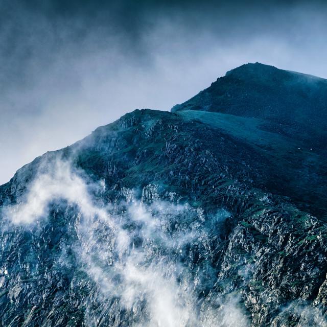 """Sunrise from Moel Hebog, Snowdonia, Wales, UK."" stock image"