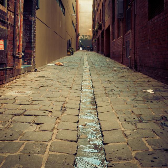 """Melbourne Coblestone Laneway"" stock image"