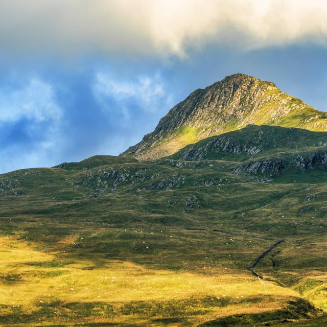 """Yr Aran mountain peak, Snowdonia national park, north-west Wales, UK."" stock image"