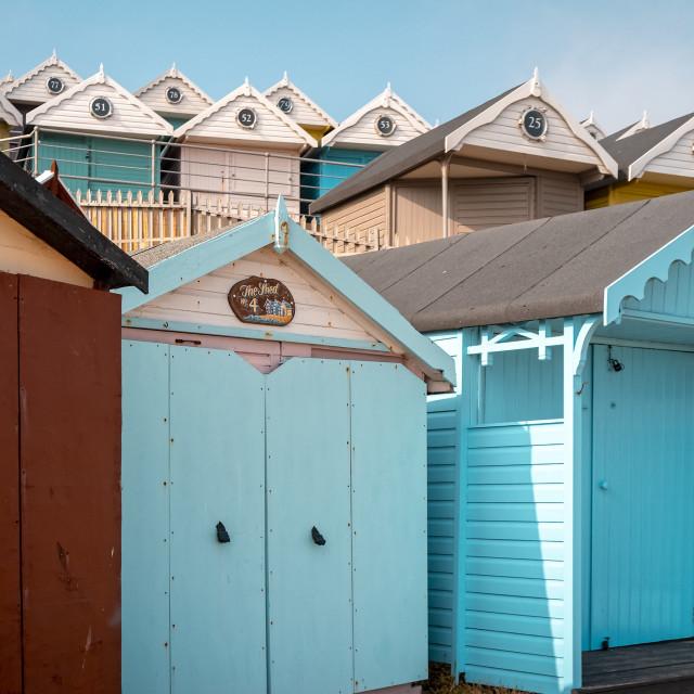 """Beach Huts, Walton Pier, Walton-on-the-Naze"" stock image"