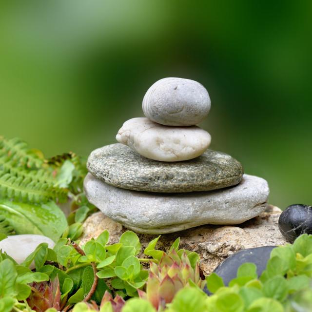 """""""pile of pebbles in a zen rock garden"""" stock image"""