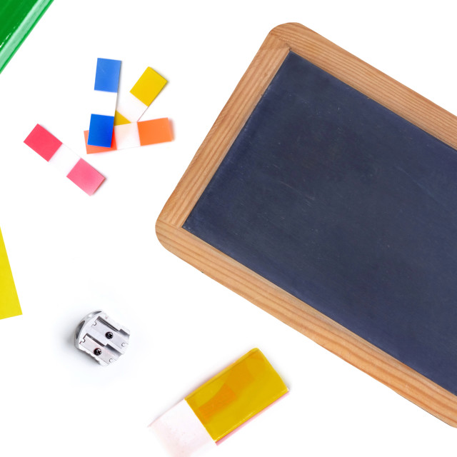 """""""group of school supplies on white background concept back to school"""" stock image"""
