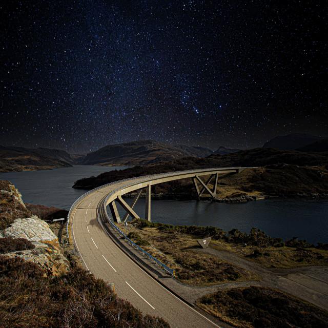 """Kylesku Bridge, Under the Stars"" stock image"