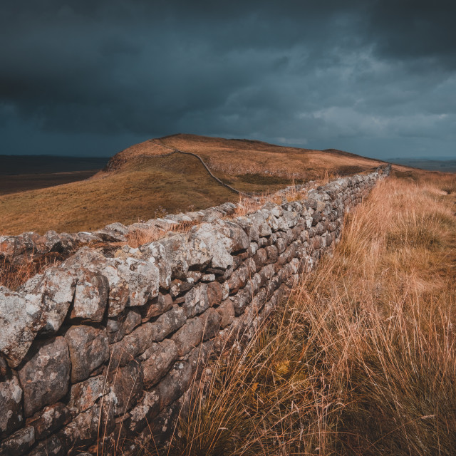 """""""A dark and stormy afternoon at Hadrian's Wall"""" stock image"""