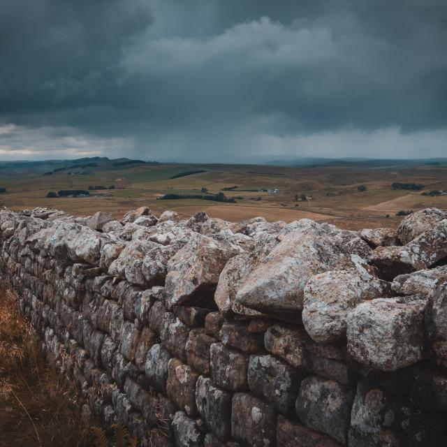 """A rain-soaked afternoon at Hadrian's Wall, Northumberland"" stock image"