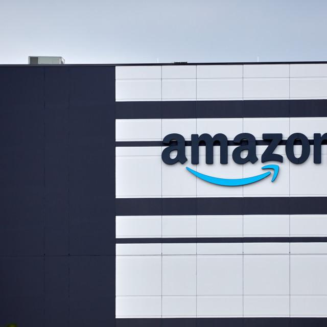 """Amazon logo on warehouse in Barrhaven"" stock image"