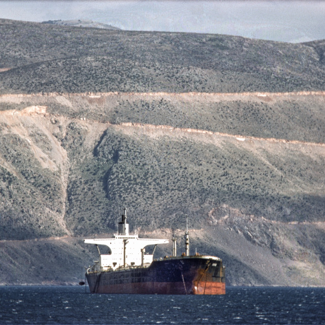 """""""Supertanker in Gulf of Corinth"""" stock image"""