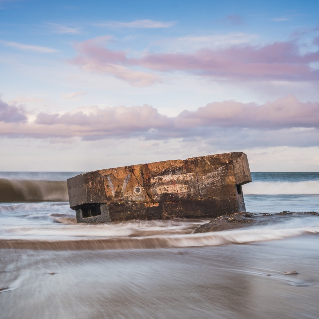 """""""Gentle waves at Cayton Bay, North Yorkshire"""" stock image"""